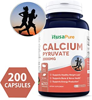 Calcium Pyruvate 2000mg 200caps (Non-GMO & Gluten Free) Supports Healthy Weight Management, Energy Production and Bone Health