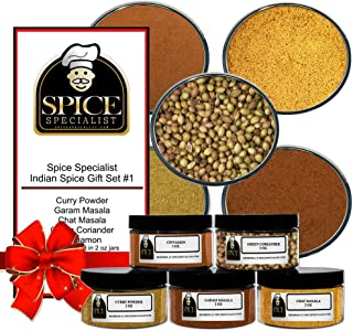 Chef Cherie's Indian Spice Gift Set #1 - Contains 5 2 oz.Jars (1 each of: Curry Powder, Garam Masala, Chat Masala, Green Coriander and Cinnamon.)