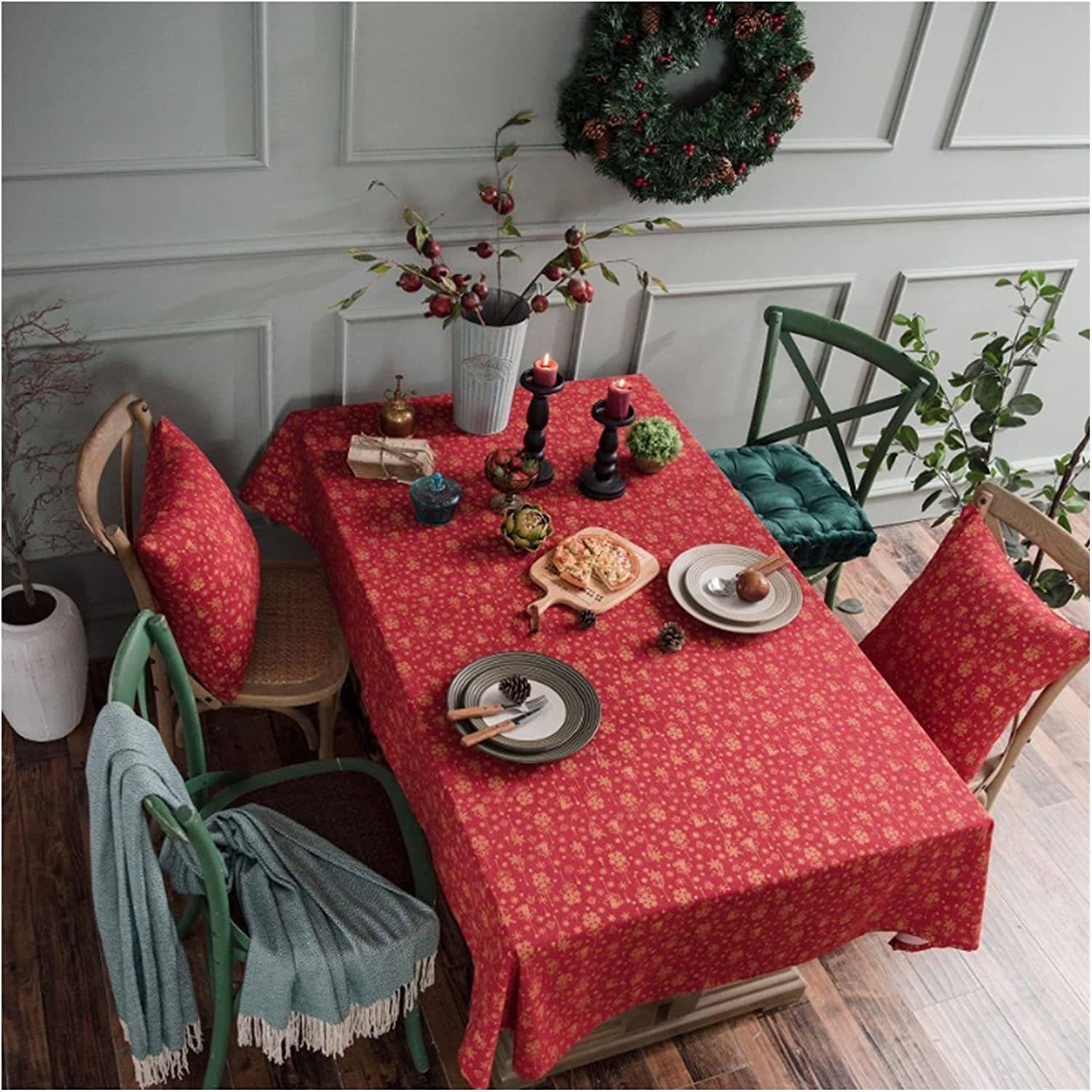 Linen Cotton Christmas Fashionable Party Tablecloth Bronzing Green Rectangle Our shop OFFers the best service