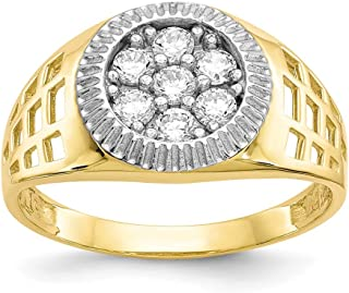 10K Two-Tone Gold Ring Band with Stones Cubic Zirconia CZ White