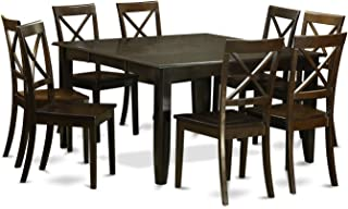 East West Furniture PFBO9-CAP-W Dining Set, 9-Piece, Cappuccino Finish