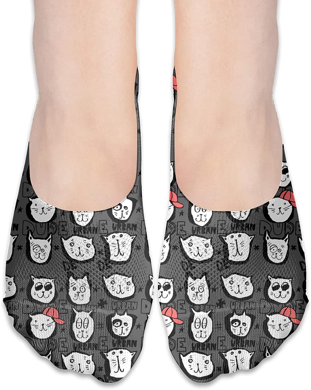 No Show Socks Women Men For Cat Faces Dude Urban Flats Cotton Ultra Low Cut Liner Socks Non Slip