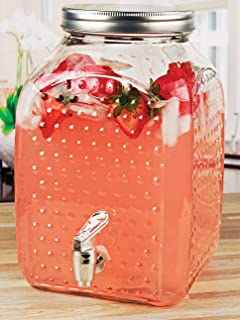 Circleware Hobnail Elegant Sun Tea Mason Jar Glass Beverage Dispenser, Fun Party Entertainment Home Kitchen Glassware Wate...