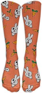 KCOUU, Calcetines deportivos KCOUU para hombre y mujer, diseño de conejos de zanahoria con dibujos animados, talla única