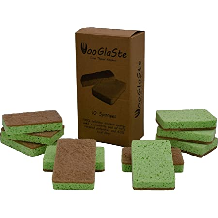 Wooglaste ® - Esponja Platos - Doble Cara - Multiusos - Celulosa para Lavar - Sisal para Fregar - Lavado de Cocina - Limpieza de Casas - Eficaz sin ...