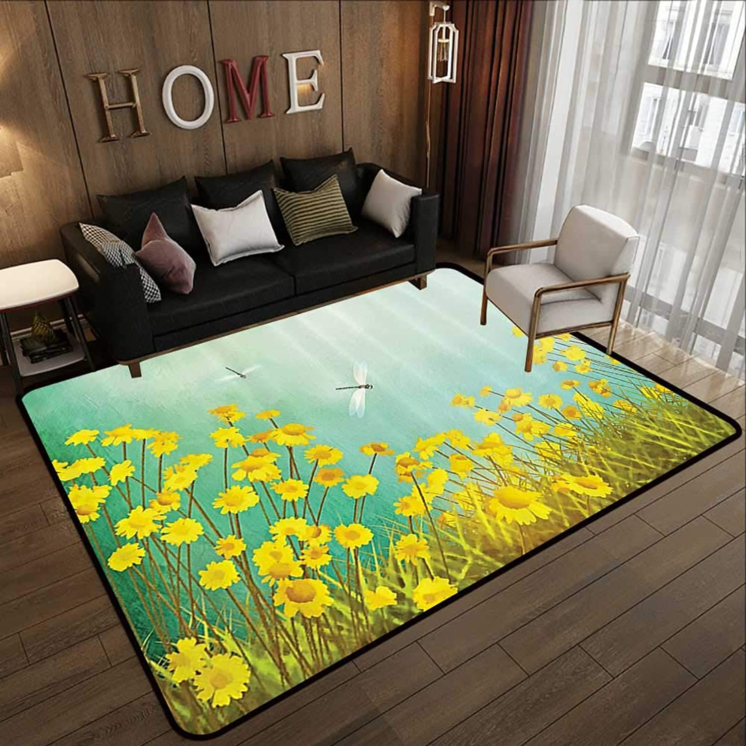 Carpet mat,Country Decor,Flourishing Artistic Landscape with Daisies On The Grass and Dragonflies in The Air,Green Yellow 47 x 59  Floor Mat Entrance Doormat
