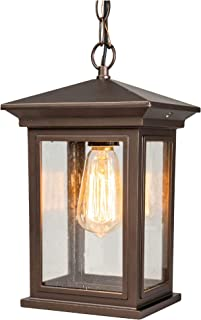 Outdoor Pendant Light, JETIMA Exterior Ceiling Light with Oil Rubbed Bronze (ORB) Aluminum Finish and Tempered Clear Seede...