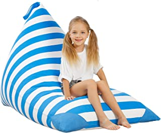 Aubliss Empty Bean Bag for Stuffed Animal Storage for Kids, Premium Canvas Extra Large Bean Bag Chair for Adults (Blue Str...