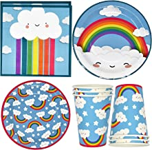 """Rainbow Cloud Party Supplies Tableware Set 24 9"""" Paper Plates 24 7"""" Plate 24 9 Oz. Cups 50 Lunch Napkins for Colorful Past..."""