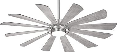 """Minka Aire F870L-BS Windmolen 65"""" Outdoor Ceiling Fan with LED Light and Remote Control, Brushed Steel"""