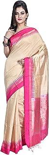 SareesofBengal Women's Handloom Raw/Jute Silk Saree (RS11, Orange, Black)