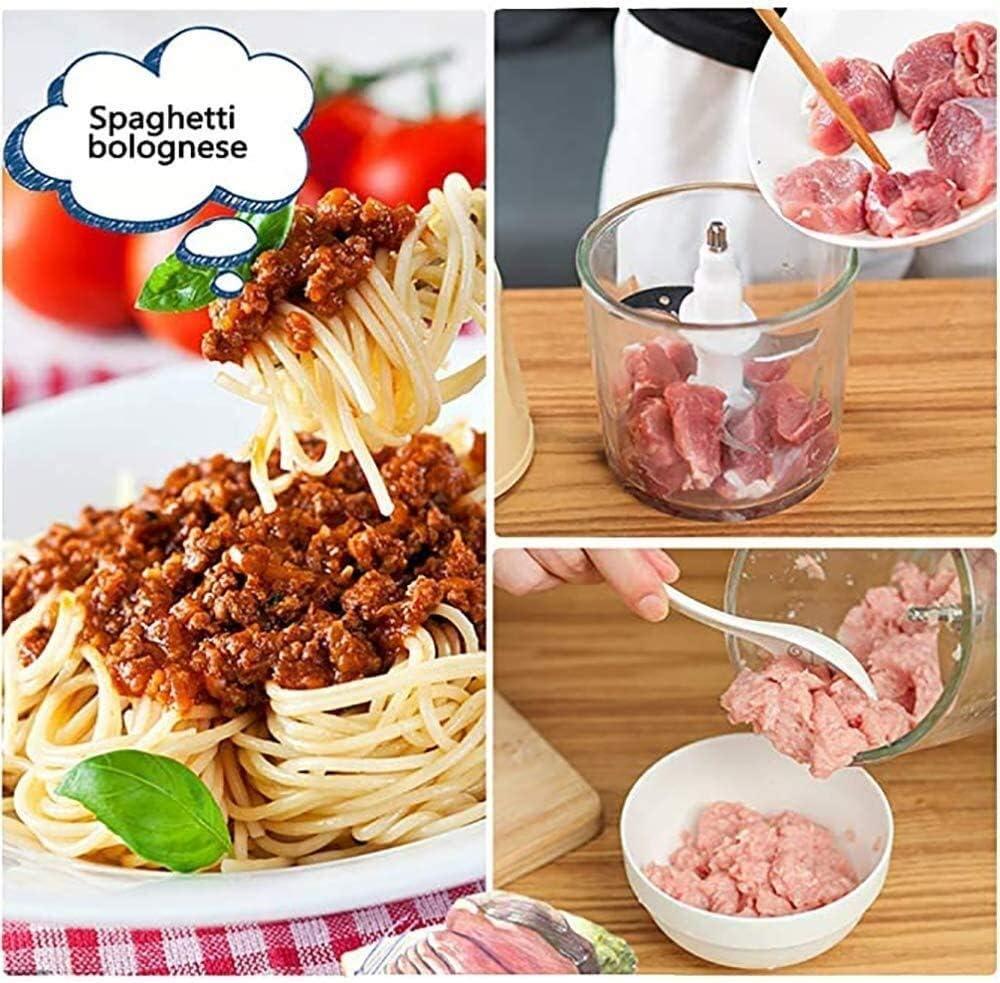 Bijl van het Voedsel 200W, Eletric Food Processor 0.6L, 4 Sharp Blades, Stainless Steel Meat Grinder for vlees, groenten, fruit, ui en noten (Kleur: Roze) WKY (Color : Pink) Pink