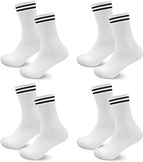 Socken Herren Damen 4 paar Sportsocken Schwarz Lange Baumwollsocken Weiß