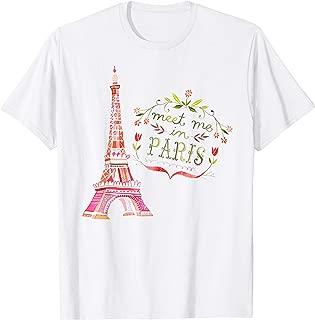Meet Me In Paris Watercolor Print T Shirt Eiffel Tower