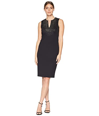 Calvin Klein Embellished Scuba Sheath w/ V-Neck CD8M13TV (Black) Women