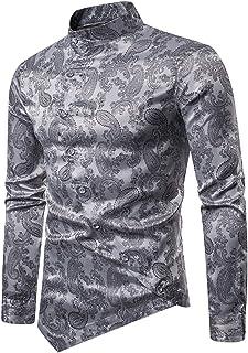 WHATLEES Camisa de satén asimétrica de cachemira para hombre Urban