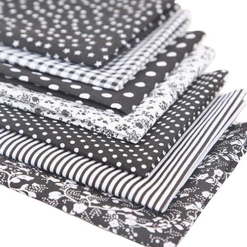 Souarts 6PCS Mixtes Textile Tissu Coton pour DIY Patchwork Artisanat Couture Noir 50cmx50cm