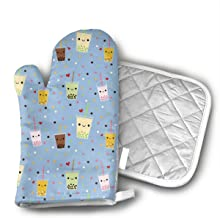 Ksiwo Happy Boba Bubble Tea Heat Resistant Hot Oven Mitts & Pot Holders for Kitchen Oven Gloves for BBQ Cooking Baking, Grilling, Machine Washable.