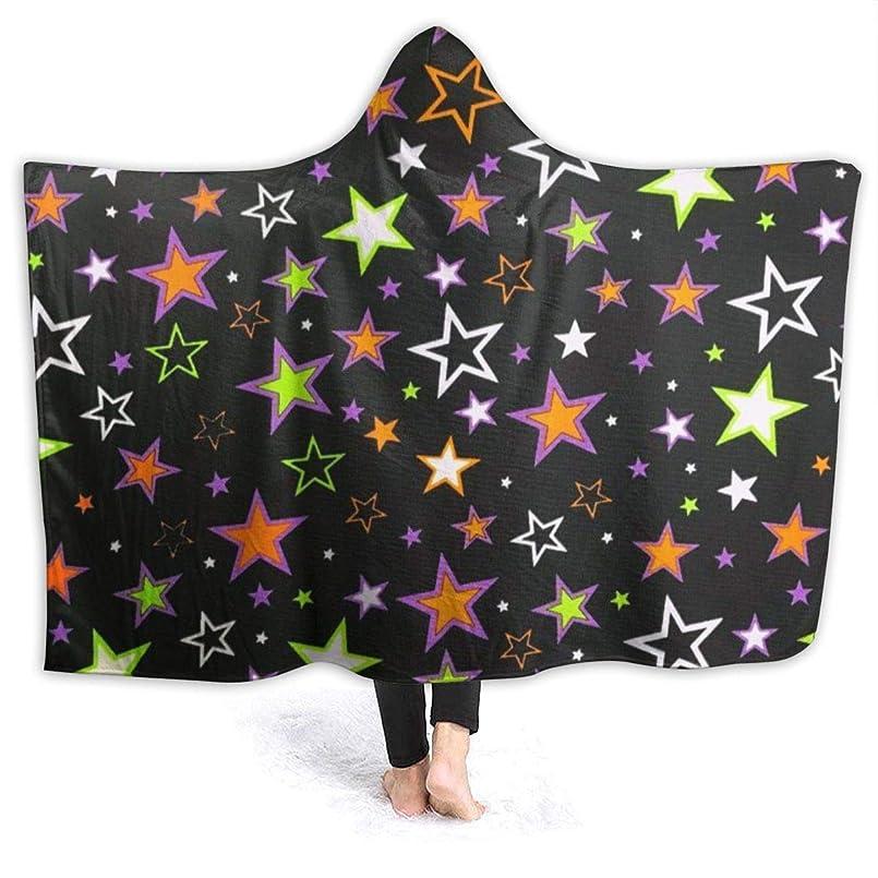 疲労明示的に与えるYONHXJLAZ Halloween Star Fabric 毛布 フード付き ブランケット 大判 タオルケット厚手 オールシーズン快適 軽量 抗菌防臭 防ダニ加工 オシャレ 携帯用,車用,オフィス用