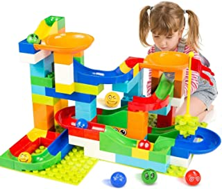 BATTOP Marble Run Building Blocks Construction Toys Set Puzzle Race Track for Kids-97 Pieces