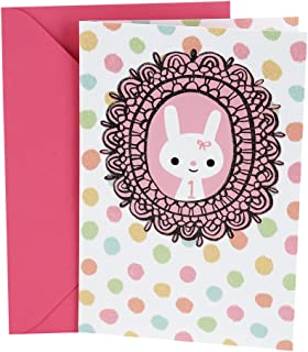 Hallmark 1st Birthday Greeting Card for Girl (Bunny In Lace)