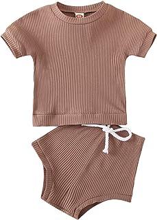 Conjunto de Pijama de algodón con Pantalones Cortos de Camiseta Superior de Color Puro para niños