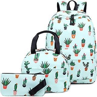 Mochila Escolar para Niñas Adolescentes con Bolsa de Almuerzo y Estuche Cartera para Niños Cactus