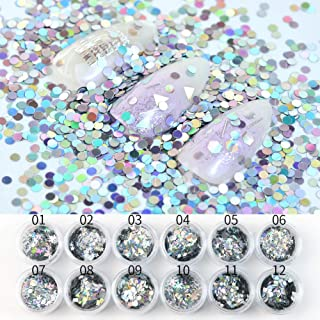 MEILINDS Nail Art Laser Splarkly Sequin Acrylic Paillettes Holographic Mixed Shape Glitter Flake Tips 12 Pots