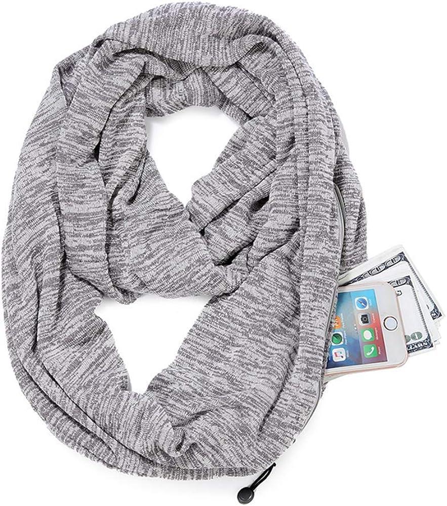 Infinity Scarf with Hidden Zipper Pocket for Women Pop Fashion Lightweight Soft Travel Scarf (Light gray)