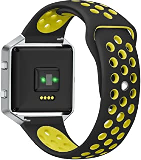 ANCOOL Compatible Fitbit Blaze Bands, Soft Silicone Replacement Sport Strap Wristband for Fitbit Blaze (Small-Black/Volt)