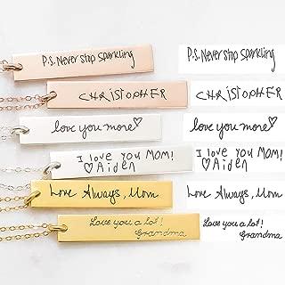 Vertical Handwriting Bar Necklace Custom Actual Handwriting Jewelry Personalized Signature Necklace Memorial Keepsake Jewelry Mom Gift