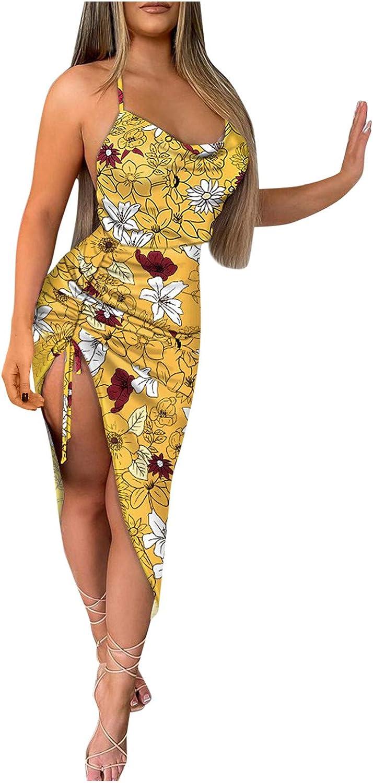 GKASA Summer Dress for Womens Floral Print Halter Dress High Slit Backless Midi Dress Bodycon Boho Party Club Dresses