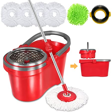 HAPINNEX Spin Mop and Bucket with Wringer Set - for Home Kitchen Floor Cleaning - Wet/Dry Usage on Hardwood & Tile - Upgraded Self-Balanced Easy Press System with 2 Washable Microfiber Mops Heads