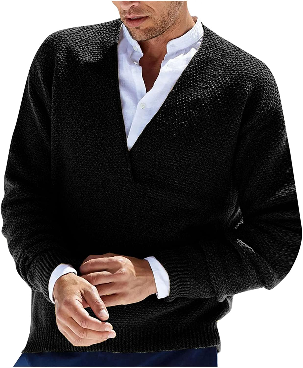 KEEYO Mens Casual Slim Fit Pullover Sweaters V-Neck Cable Knitted Basic Designed Lightweight Sweater Jacket Jumper Tops
