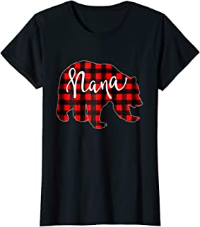 Womens Red Plaid Nana Bear Shirt Matching Pajama Family Buffalo Tee