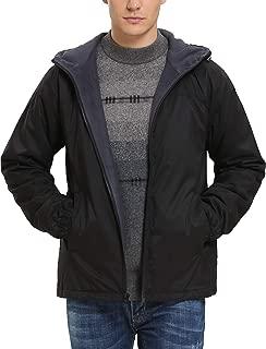 iloveSIA Men's Lightweight Fleece-Lined Hooded Jacket with Rainproof Windproof Shell