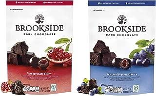 BROOKSIDE Dark Chocolate Candy, Acai & Blueberry & BROOKSIDE Dark Chocolate Candy, Pomegranate, 21 Ounce