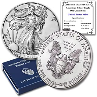 2021 1 oz Silver American Eagle Brilliant Uncirculated with United States Mint Box and a Certificate of Authenticity by CoinFolio $1 Mint State