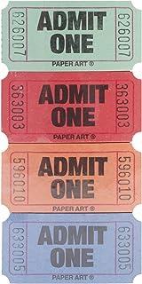 Admit One Tickets 2000 Tickets/Roll-Red, Blue, Orange & Green