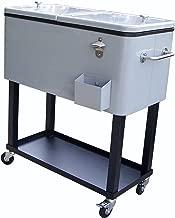 Oakland Living 90010-MT Steel Patio Cooler with Cart, 80-Quart, Metallic Grey