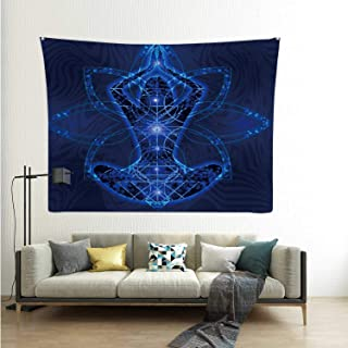 Hitecera Relaxation Meditation Trance Illustration Goa,Wall Hanging Tapestry Chakra for Decor 90.5x59.1in