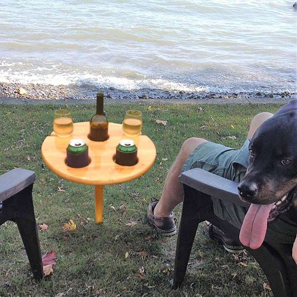 Camping A Optimal f/ür Wanderer Holz Campingtisch TragBAR Klapptisch Outdoor Tisch f/ür 2 Glas 1 Weinflasche und 1 Handy-Steckplatz Psycker Outdoor Klappbar Weinregal Outdoor Aktivit/äten