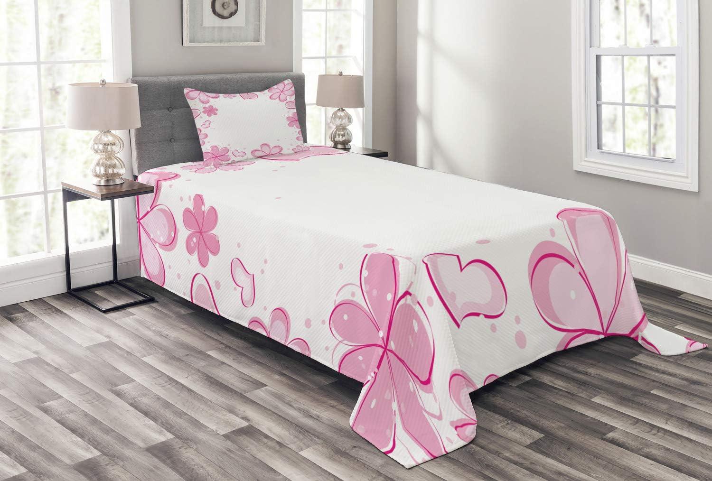Lunarable Pale OFFicial site Pink Bedspread Flower Kansas City Mall Girls Hearts Inspirational