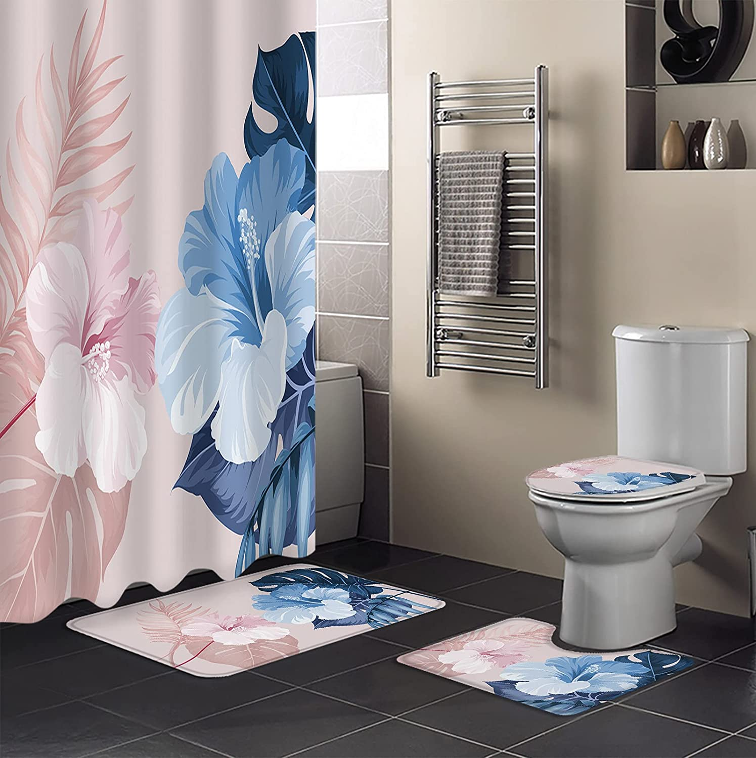 4 PCS 2021new shipping free shipping Shower Curtain Sets Bathroom Super Special SALE held Waterproof with Non-Sli