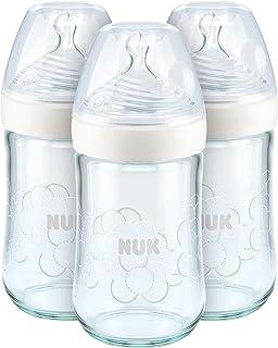 NUK Biberons en Verre Nature Sense, 240ml, 0-6 Mois, Anti Colique, Sans BPA, Silicone, Lot de 3