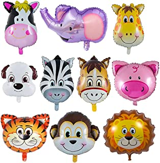 O-Kinee Globos Animales,10 pcs Globos de Cabeza de Animal Globos de Papel de Aluminio,Animales De La Selva Globos,Helio está Permitido,Decoración de la Fiesta de Cumpleaños de los Niños (10PCS)
