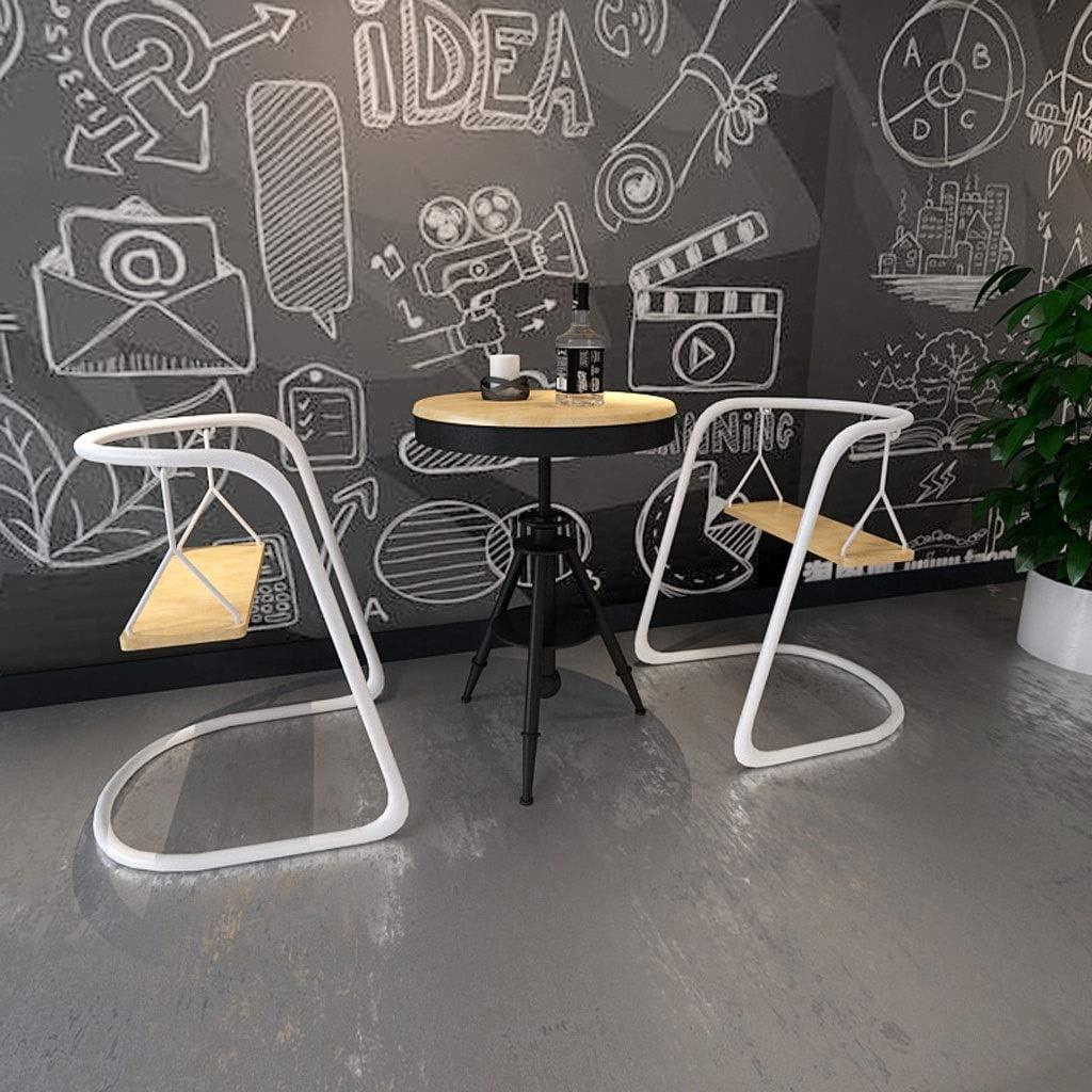 HMDJW Chaise de Salle à Manger Net Red Ins Chaise créative en Fer forgé Salon de thé en Plein air Table à Bascule et Chaise combinées Lazy Cafe Leisure Back (Color : Noir) Noir