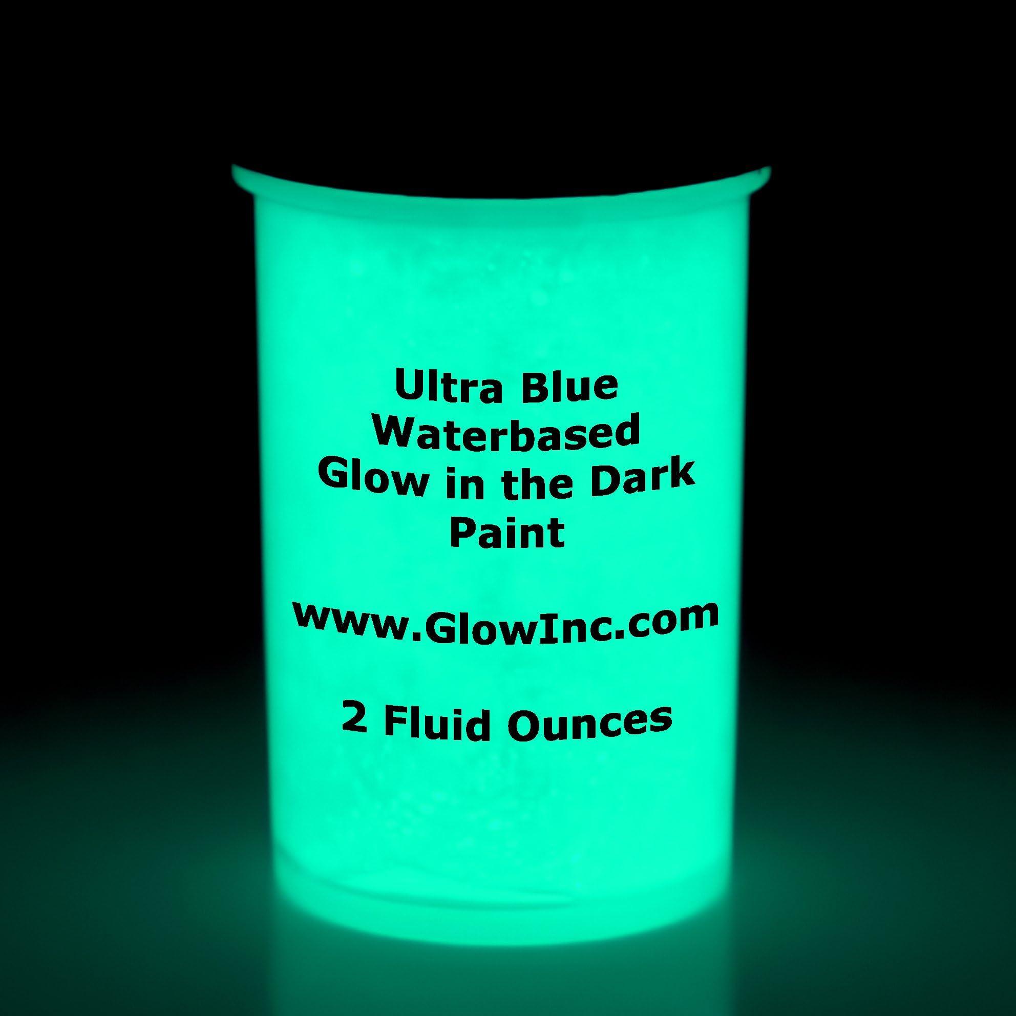 Ultra-blue water based glow in the dark paint by Glow Inc. 2oz