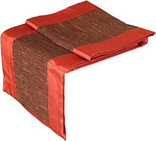 Artiwa Burnt Orange & Brown Silk Decorative Table Runner & Bed Runner 14 by 48-inch