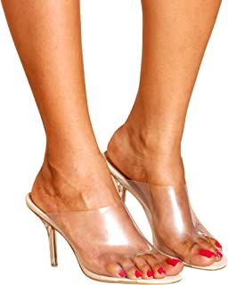 322fa392055 CAPE ROBBIN Women s Dressy Peep Toe Clear Transparent Strap Slip On Clear  Heels - Nude